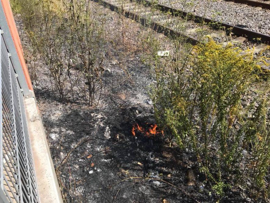Brand Böschung im Bahnbereich